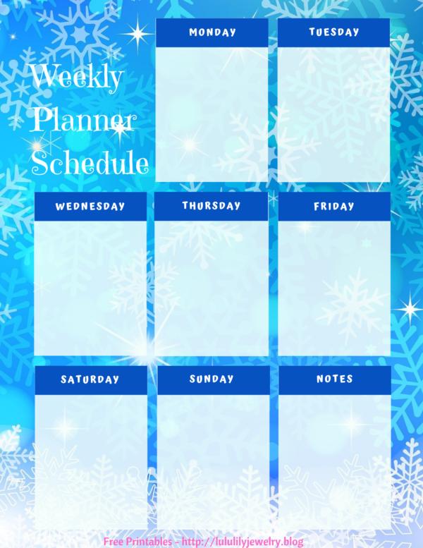 Weekly Planner - Blue Snowflakes
